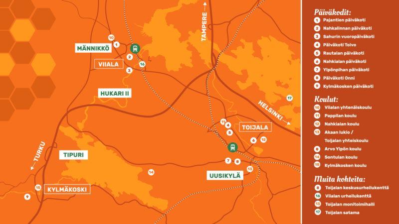Akaan kartta, johon on merkitty tonttialueet ja muita tärkeitä kohteita, kuten päiväkodit ja koulut.