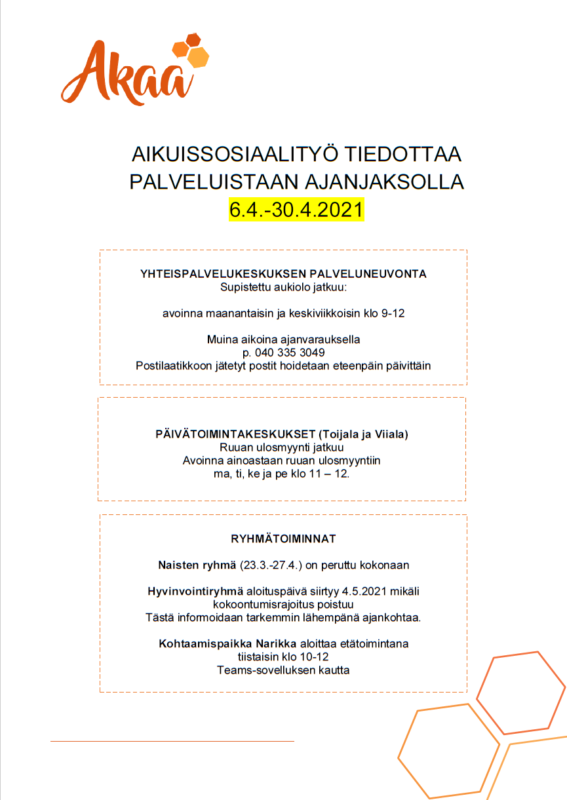 Aikuissosiaalityö tiedottaa ajanjaksosta 6.4.-30.4.2021
