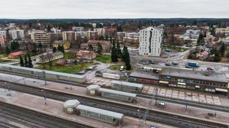 Toijalan rautatieasema ja ympäristöä ilmasta