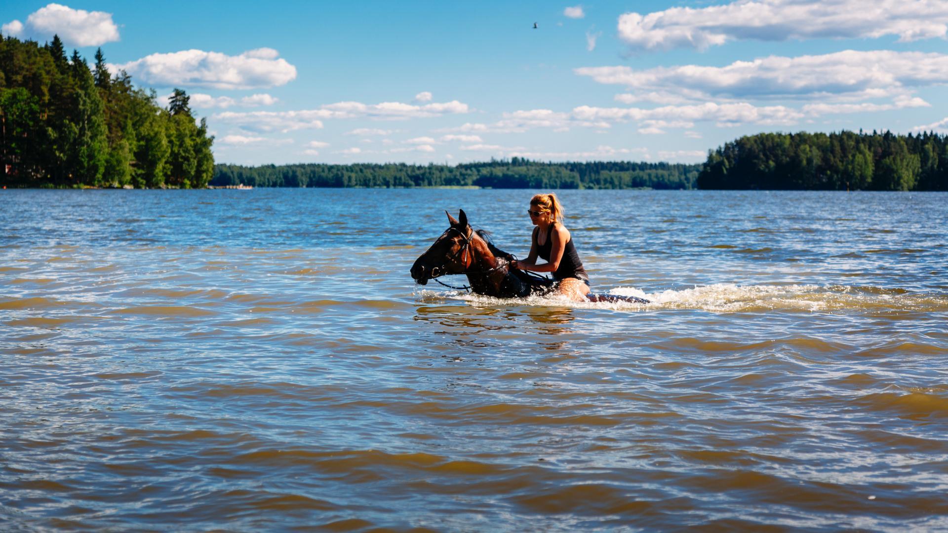 nainen ratsastaa hevosella vedessä